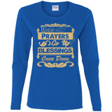 Prayers Up (Tan) - Ladies' Cotton LS T-Shirt