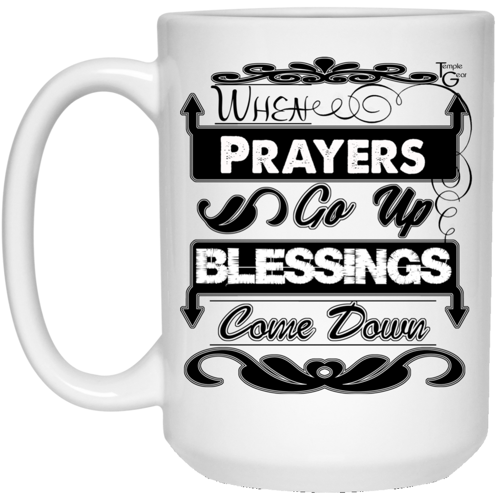 Prayers Up (Black) - 15 oz. White Mug