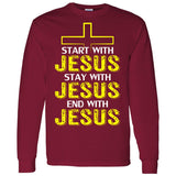 Start, Stay, and Finish With JESUS Mens LS T-Shirt 5.3 oz.
