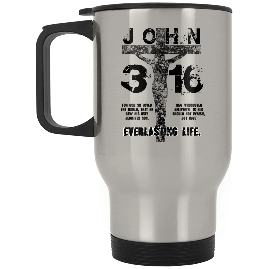 John 3:16 (Black) - Silver Stainless Travel Mug