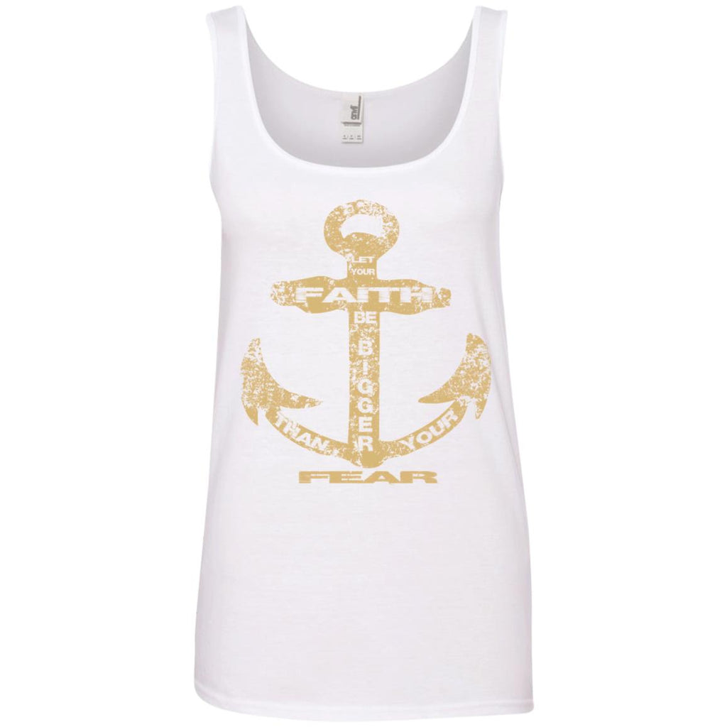 Faith Bigger Than Fear Anchor - Ladies 100% Ringspun Cotton Tank Top