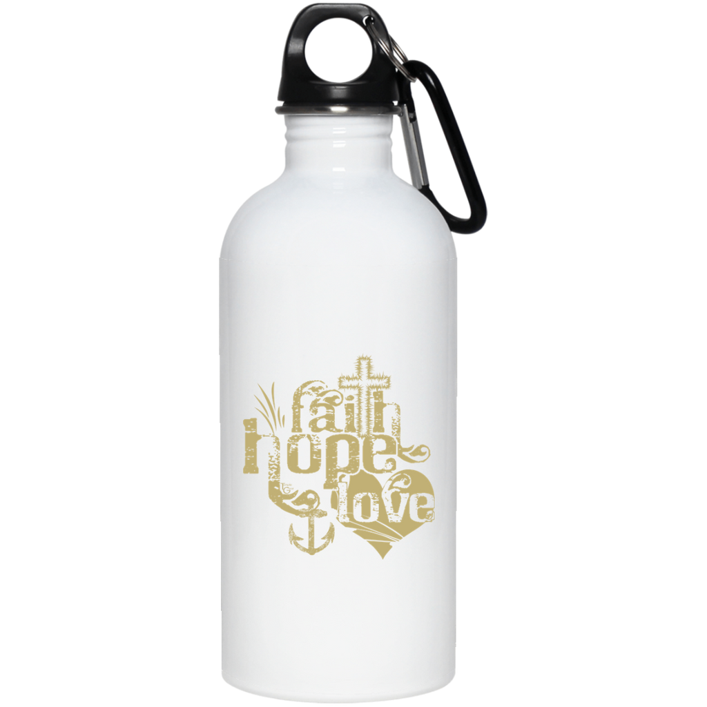 Faith Hope Love Tan - 20 oz. Stainless Steel Water Bottle