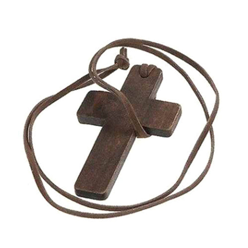 Tibetan Wooden Jesus Christ Cross, Necklace Leather String Chain