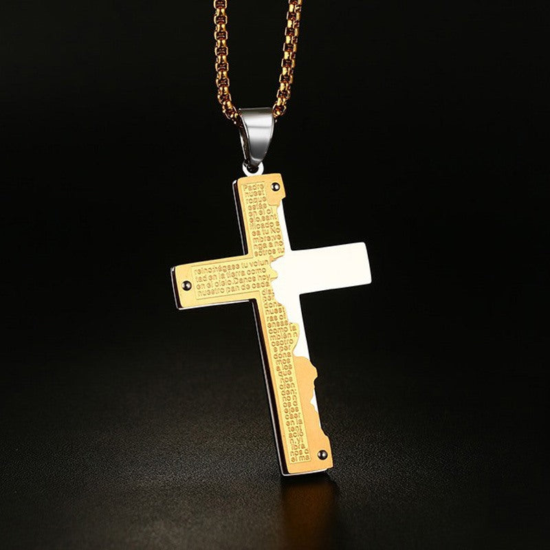 Men's Stainless Steel Pendant Necklace Gold & Silver-color Bible Lords Prayer  24""