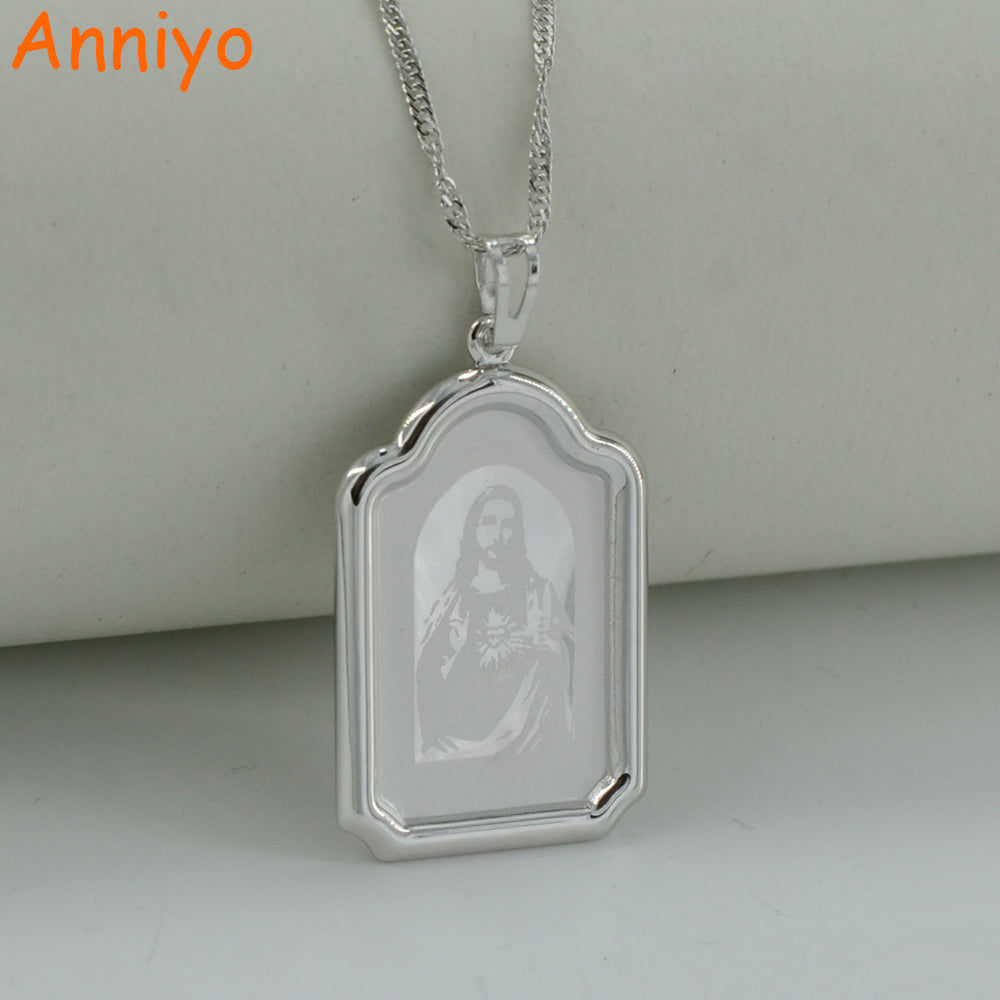 Jesus Necklace Pendant Silver Color. Emmanuel/Immanuel Jewelry for Men and Women