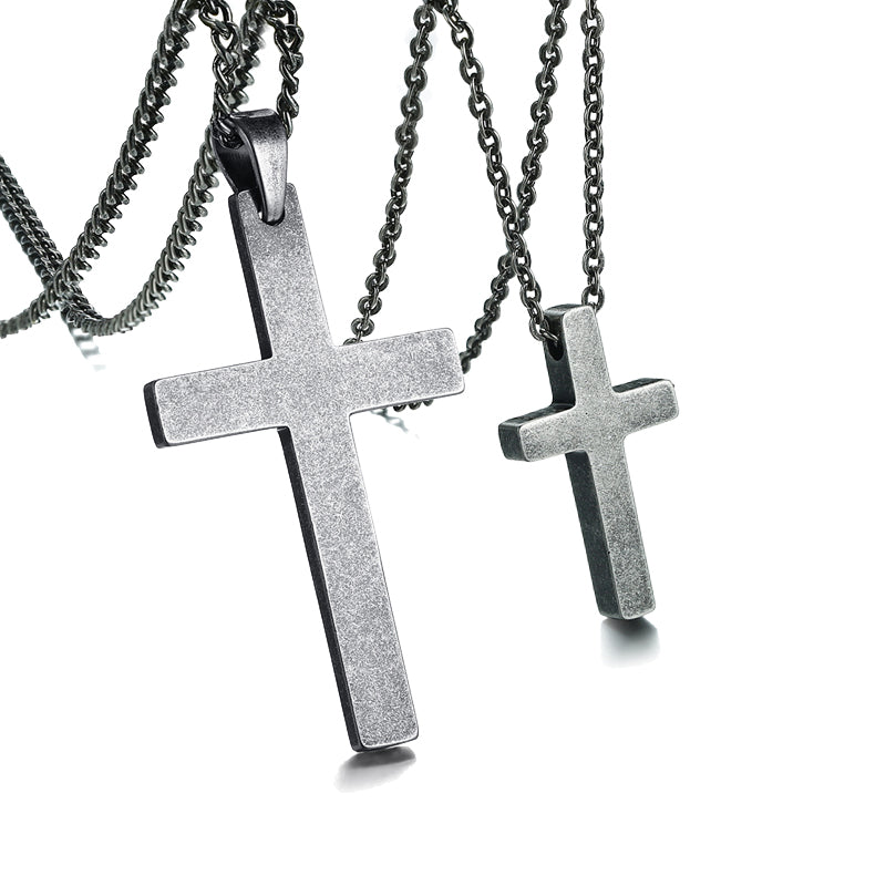 His and Hers Couples Cross Necklaces Set. Stainless Steel Antique Silver
