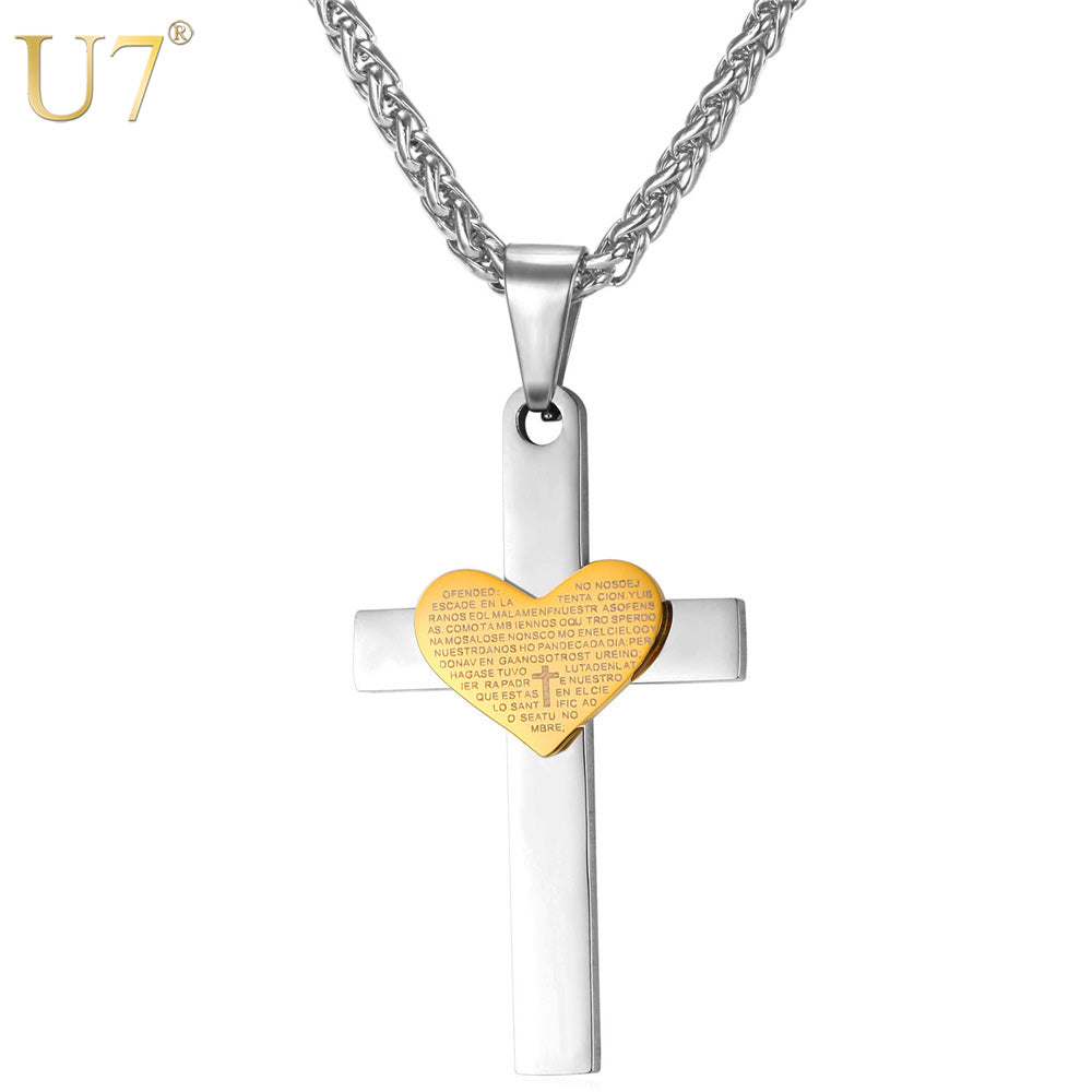 Stainless Steel Cross Necklace, Classic Scriptures Heart Charm Pendants