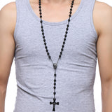 76cm Chain Black Stainless Steel Bead Chain Rosary. Jesus Christ Cross Pendant Long Charm Necklace For Men