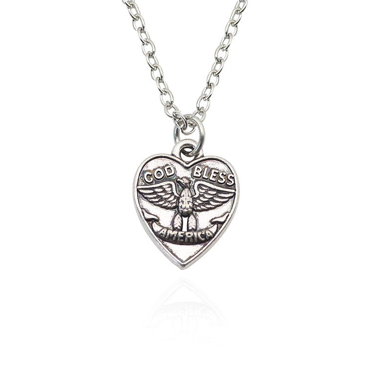 God Bless America Pendant. Vintage Eagle Heart Necklace For Men and Women