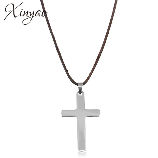 Long Leather Cross Pendant Necklace For Men, Stainless Steel