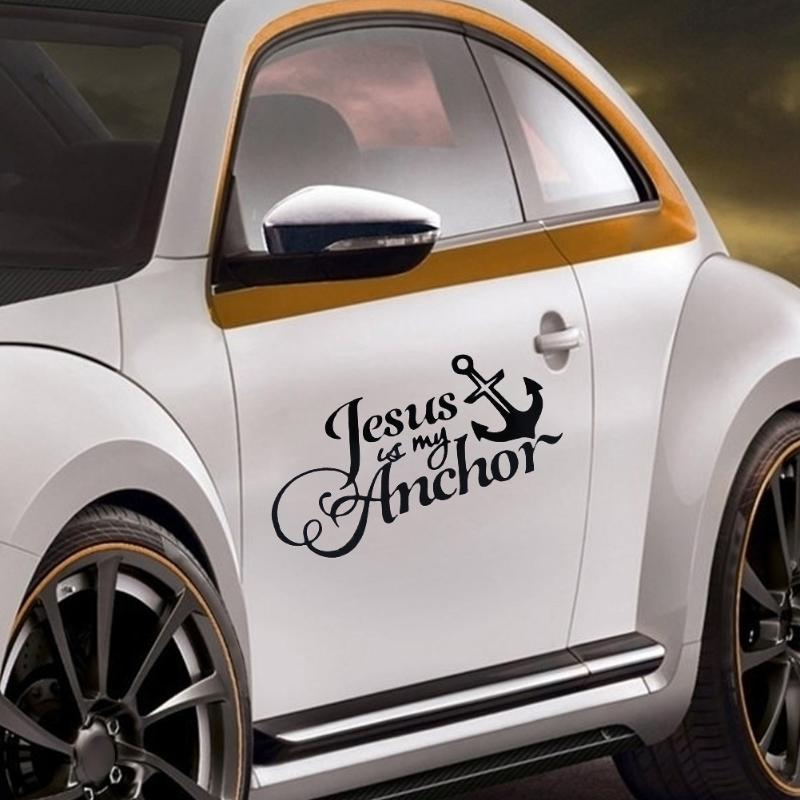 1Pcs Jesus My Anchor Christian Car Truck Reflective Sticker