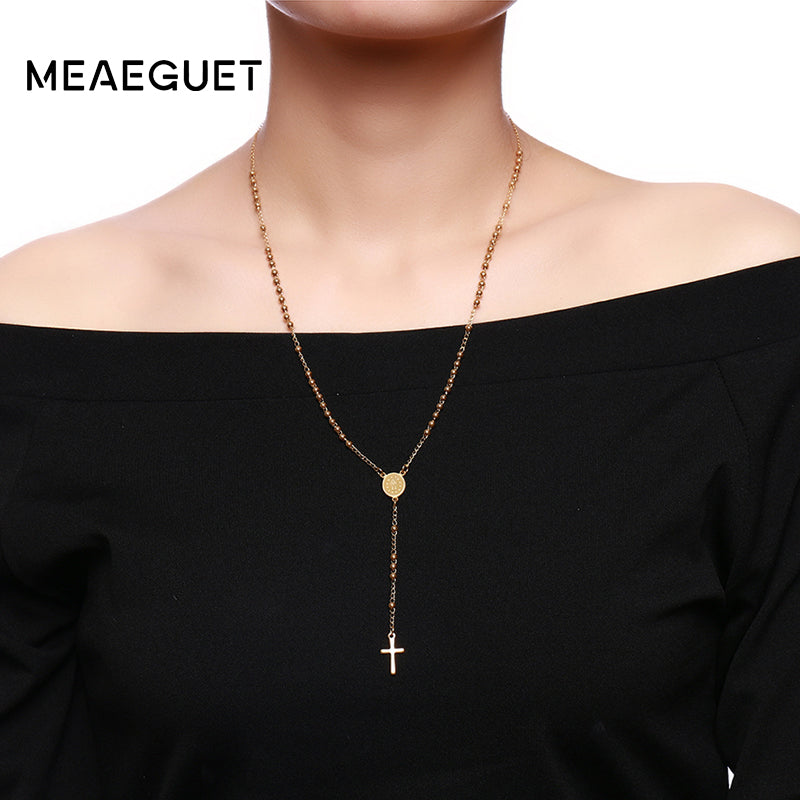 Stainless Steel Chain Cross Pendant,Necklace Rosary Link Bead Chain Jesus Christ Pendant For Women
