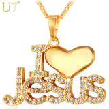 "Necklace Jesus Heart Pendant & Chain ""I Love Jesus"" For Women/Men. Silver/Gold Color Christian Jewelry Necklaces"