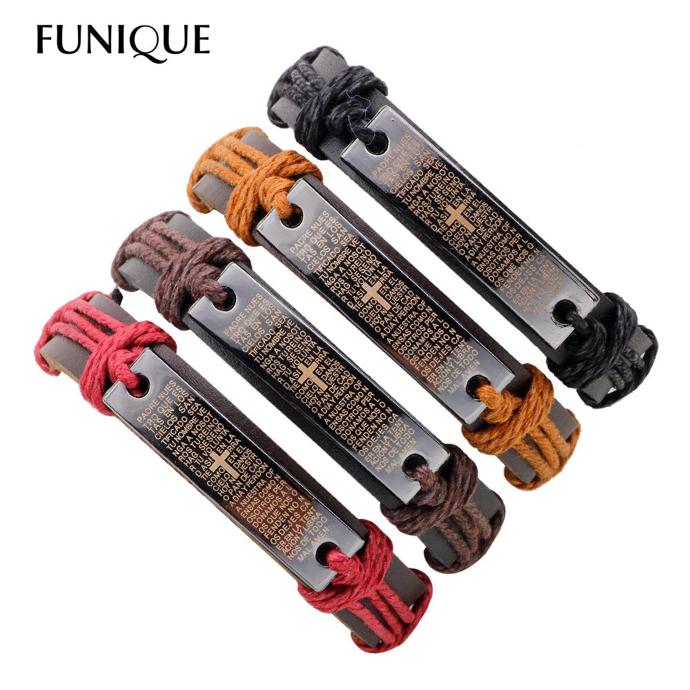 4Pcs Vintage Cross / Christian Leather Bracelet Men Multilayer Charm Bracelets