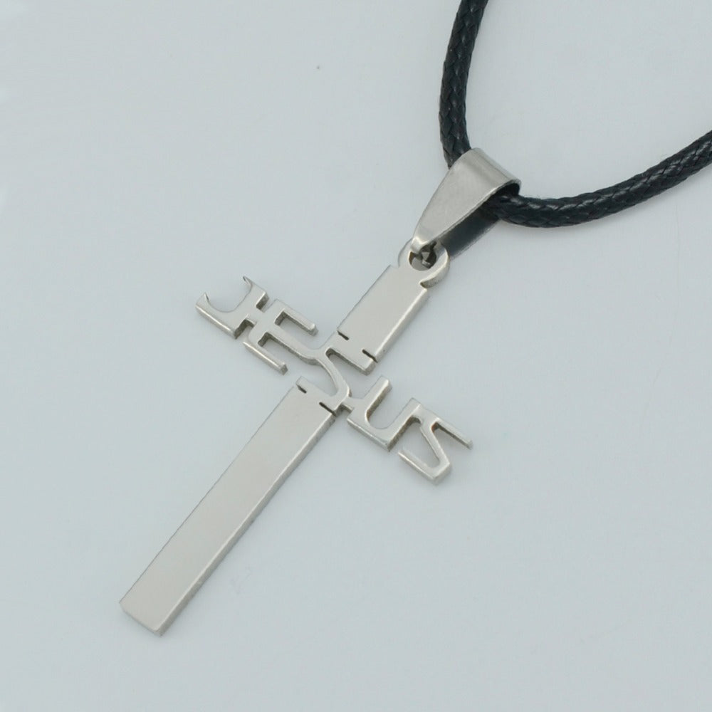Stainless Steel Jesus Cross Pendant Rope Chain for Men and Women