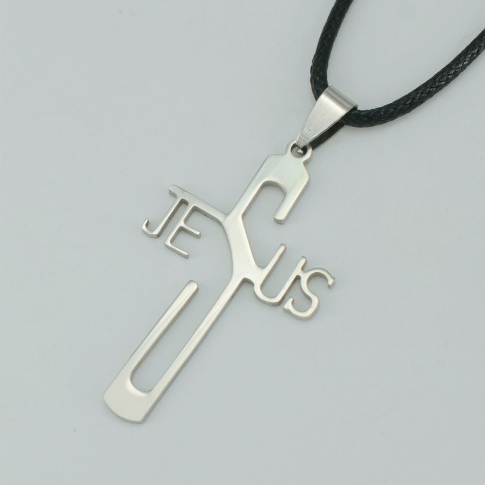 Stainless Steel Jesus Cross Pendant Rope Chain, for Men and Women