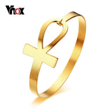 "Cross Bracelet for Women. Stainless Steel Key of Life Bangle Bracelet  Jewelry 2.3"" Diameter"