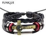 Lace-up Leather Bracelet. Jesus Christ Charm Bracelet & Bangles for Men and Women