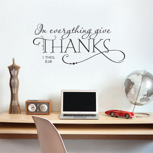 In everything give thanks Bible quote wall decals