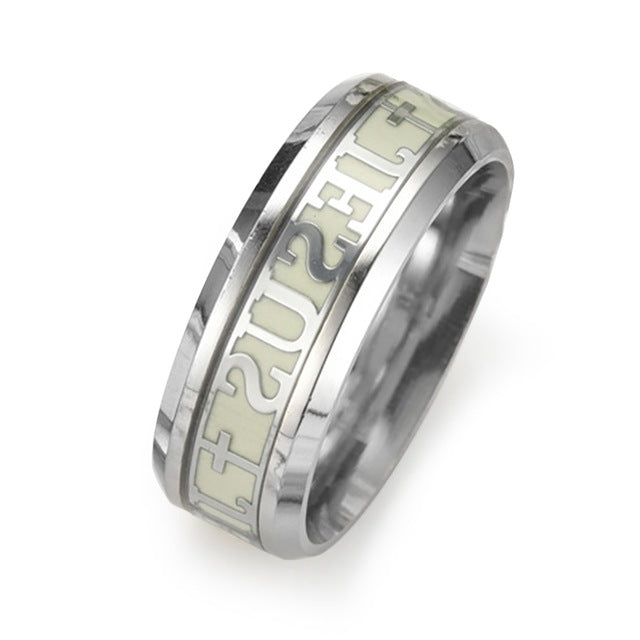 Luminous Jesus Christ Ring Stainless Steel Cross Ring Glow In The Dark Jewelry For Men and Women