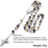 Mens Chain Stainless Steel Bead Chain Rosary Jesus Christ Cross Pendant Long Necklace