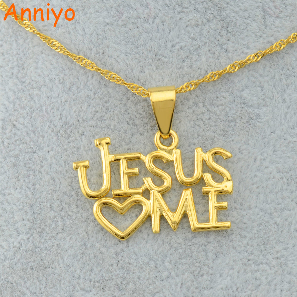 Jesus Love Pendant and Necklaces for Women. Gold Color Chain