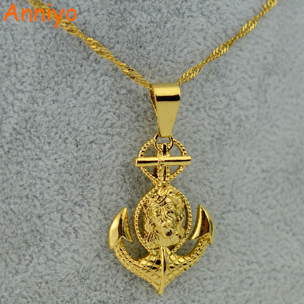 Cross Jesus Anchor Pendant & Necklace Gold, for Men and Women