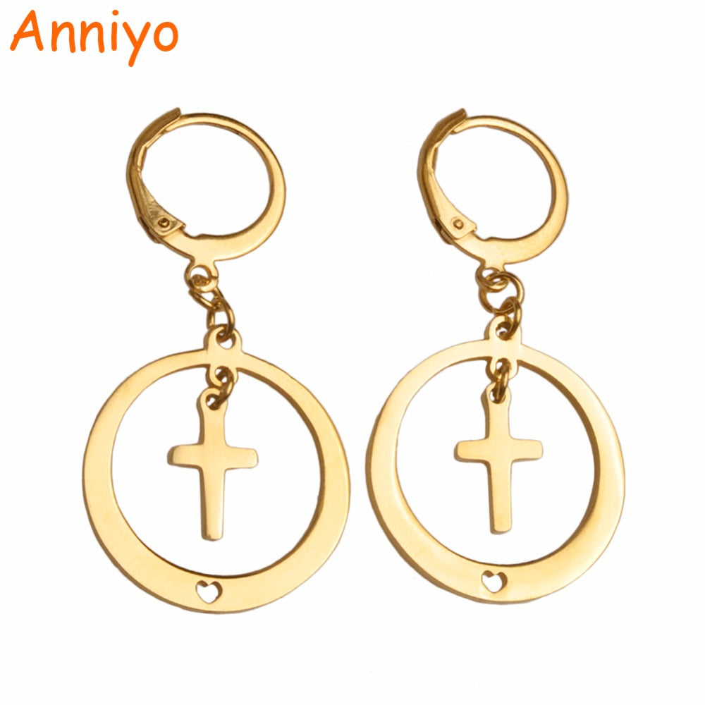 Gold Color Round Earrings With Cross for Women/Girls