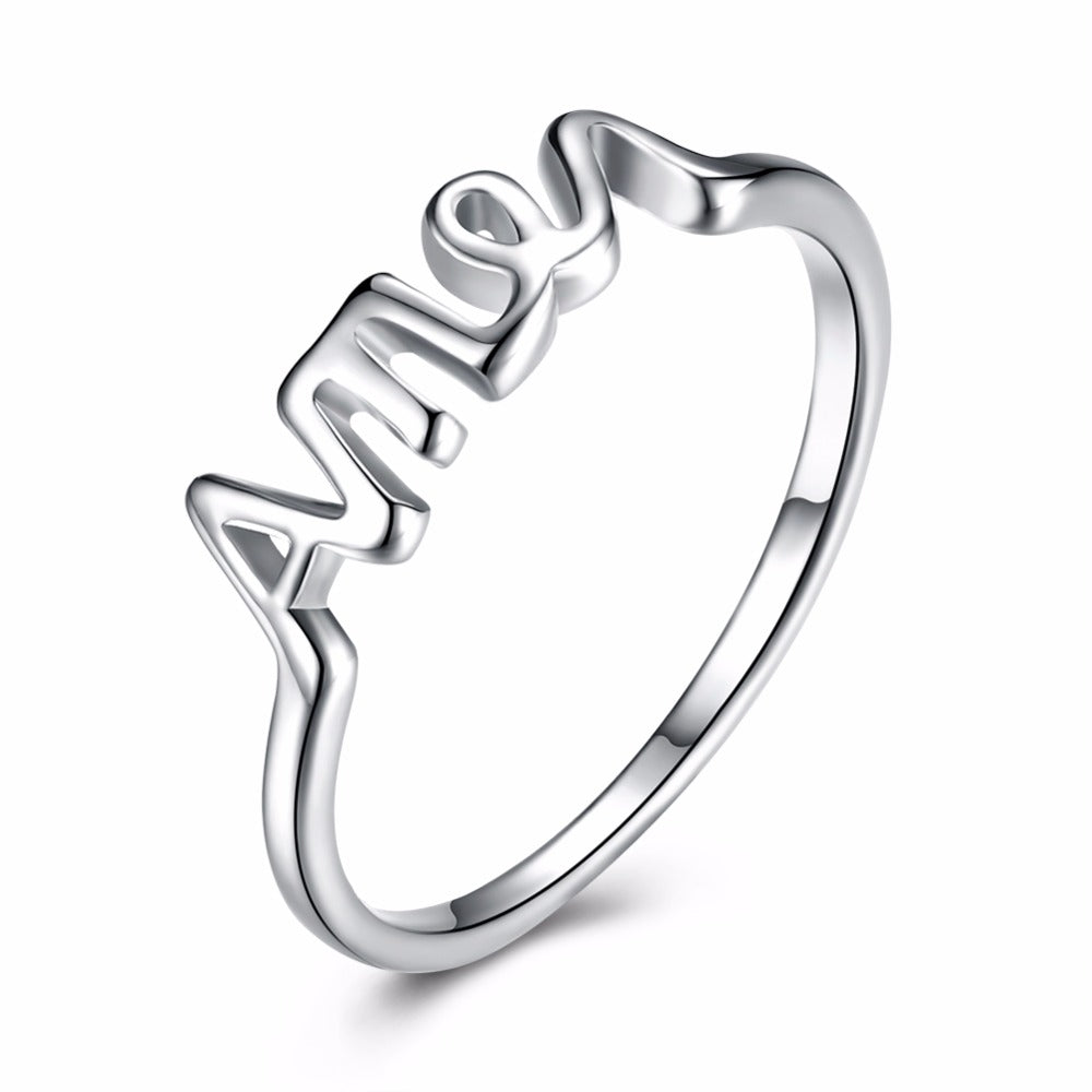 """Amen"" Christian Ring for Men and Women High Quality 925 stamped silver plated"