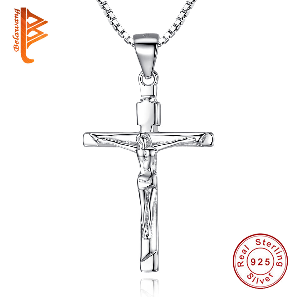Classic 925 sterling silver christ jesus cross pendant necklace for classic 925 sterling silver christ jesus cross pendant necklace for women aloadofball Choice Image