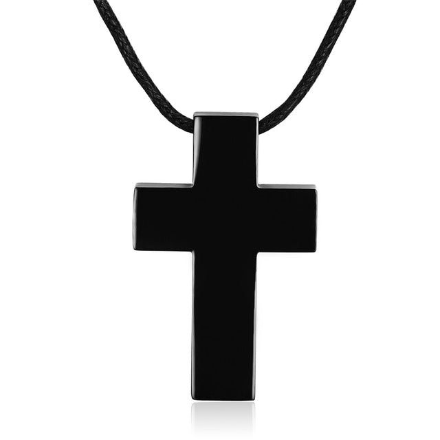 Solid Stainless Steel Christian Cross Pendant Necklace for Men