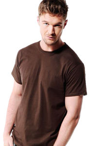 Unisex t-shirt in brown on man