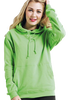 Woman wearing green hoodie