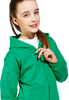 Girl wearing green hoodie