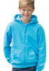 Blonde boy wearing blue hoodie