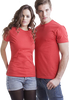 Man and woman both wearing red fitted t-shirts