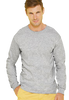 Male model wearing grey long sleeved shirt