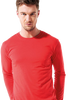 Male model wearing red long sleeved shirt