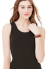 Female model wearing racerback vest top in black