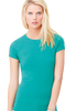 Woman wearing turquoise fitted t-shirt
