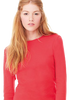 Female model wearing red long sleeved shirt