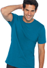 Male model wearing blue unisex t-shirt