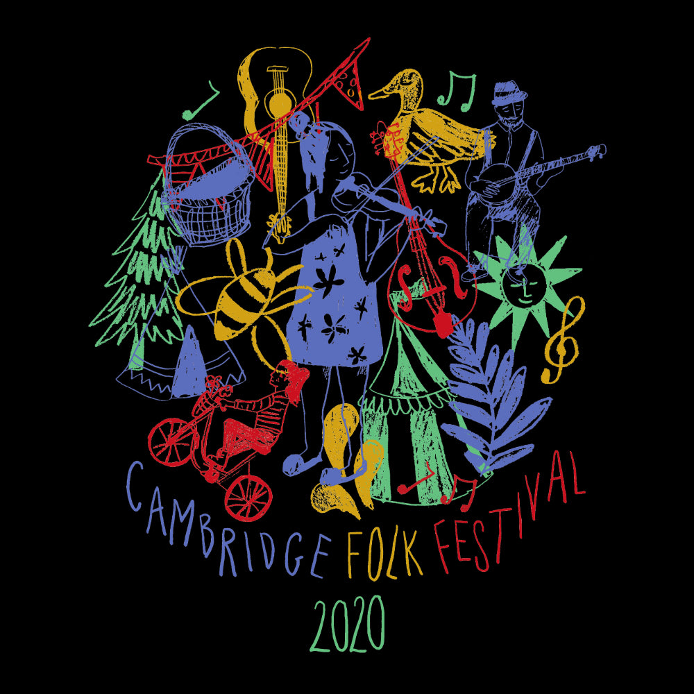 update alt-text with template Cambridge Folk Festival - Design 9 - Women's Fitted T-shirt - T-shirt - Black - Mudchutney