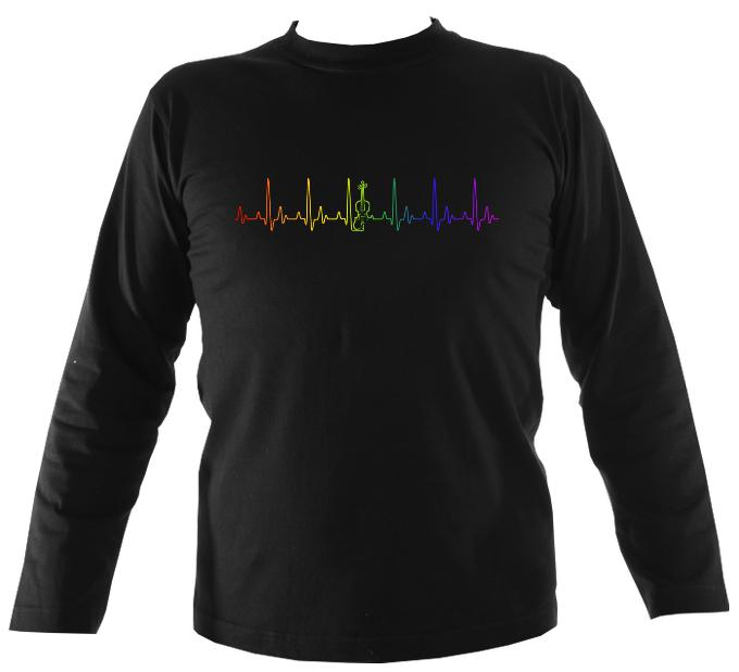 Heartbeat Fiddle in Rainbow Colours Mens Long Sleeve Shirt - Long Sleeved Shirt - Black - Mudchutney