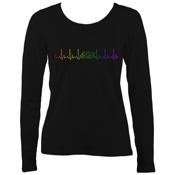 Heartbeat Concertina in Rainbow Colours Ladies Long Sleeve Shirt - Long Sleeved Shirt - Black - Mudchutney