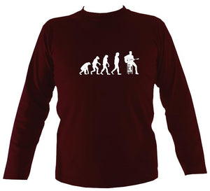 Evolution of Guitar Players Mens Long Sleeve Shirt - Long Sleeved Shirt - Maroon - Mudchutney