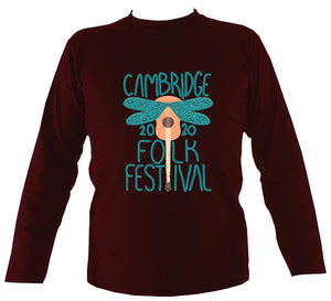 Cambridge Folk Festival - Design 1 - Mens Long Sleeve Shirt - Long Sleeved Shirt - Maroon - Mudchutney