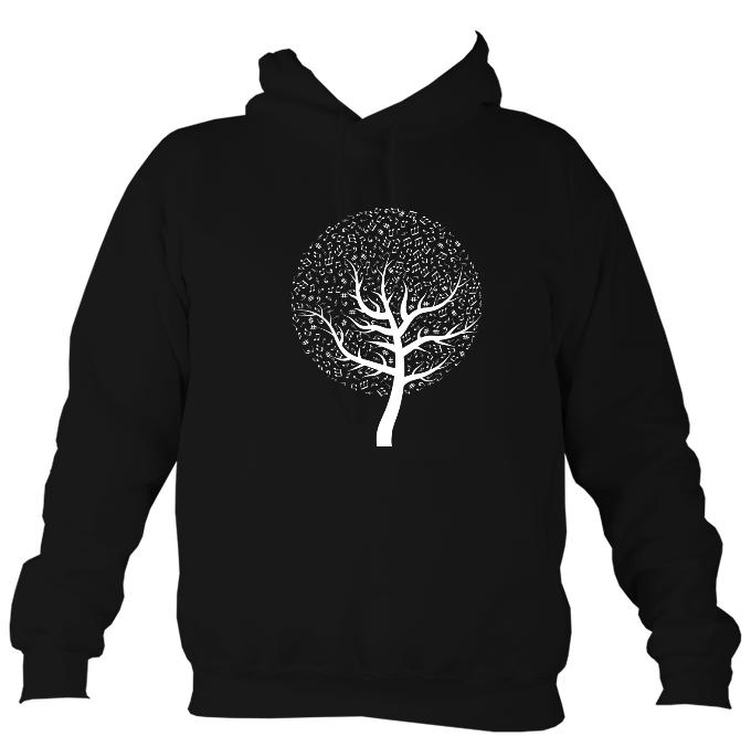 Musical Notes Tree Hoodie-Hoodie-Jet black-Mudchutney