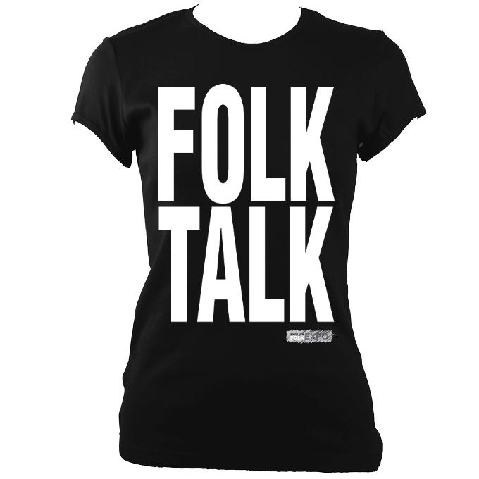 "update alt-text with template """"Folk Talk EFEx Ladies Fitted T-Shirt - T-shirt - Black - Mudchutney"
