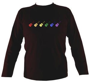 Rainbow of Guitars Mens Long Sleeve Shirt - Long Sleeved Shirt - Dark chocolate - Mudchutney